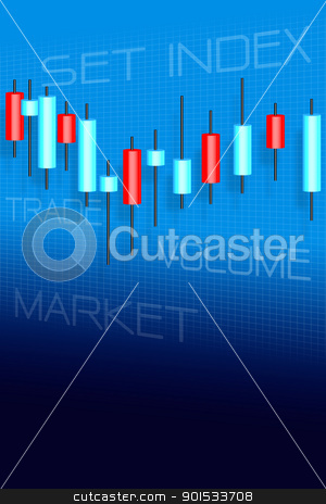 Stock market and candle sticks graph stock photo, Stock market and candle sticks graph by Sailom