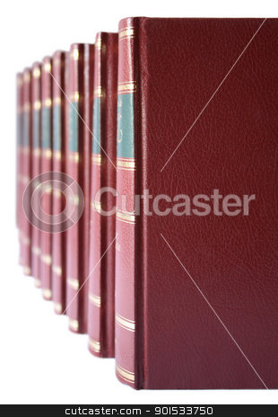Row of books with red hard leather cover stock photo, A row of a collection of books with red leather hard cover on a white background. by Brigida Soriano