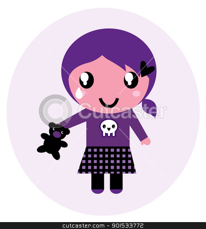 Cute emo girl with teddy bear isolated on white stock vector clipart, Little emo girl drawing. Vector Illustration. by Jana Guothova