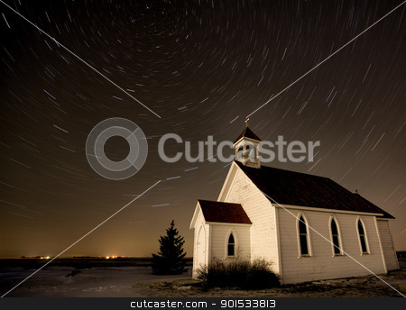 Church Night Star Trails  stock photo, Church Night Star Trails Photography Canada Religion by Mark Duffy