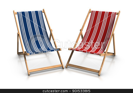 Deck Chairs stock photo, 3d rendered blue and red deck chairs. by ayzek