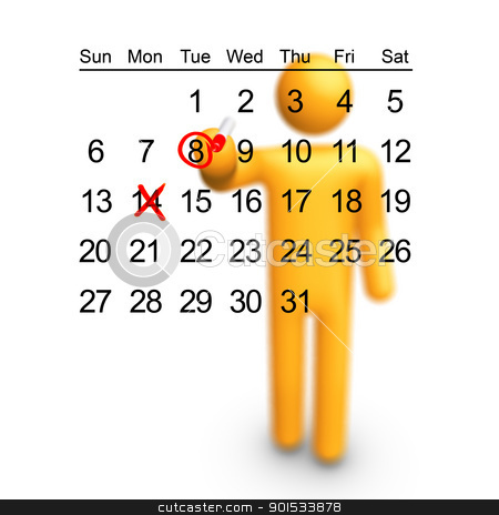 Planning stock photo, Stick Figure planning. Ready to use filled calendar. by ayzek