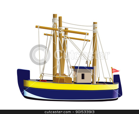 Fishing boat stock vector clipart, Little fishing ship model isolated on a white background. (Used mesh and blend tool). by lesart777