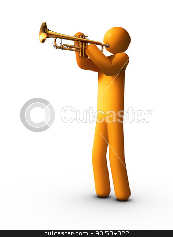 Trumpet Player stock photo, 3d rendered stick figure playing trumpet. by ayzek