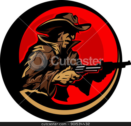 Cowboy Profile Aiming Guns Mascot Illustration stock vector clipart, Graphic Mascot Image of a Cowboy Shooting Pistols by chromaco