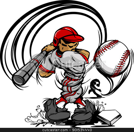 Baseball Player Cartoon Swinging Bat at Speeding Ball stock vector clipart, Baseball Cartoon Player with Bat and Ball Vector Illustration by chromaco