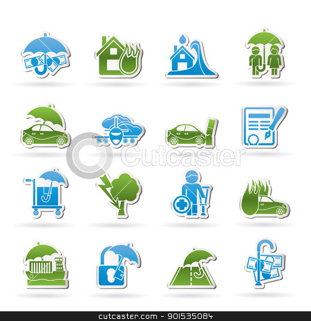 Insurance and risk icons  stock vector clipart, Insurance and risk icons - vector icon set by Stoyan Haytov