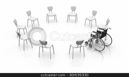 Wheelchair -  Individuality Concept stock photo, Wheelchair -  Individuality Concept. by ayzek