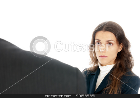 Business in front of boss isolated on white background stock photo, Business concept in front of boss isolated on white background by Daniel Garcia Mata