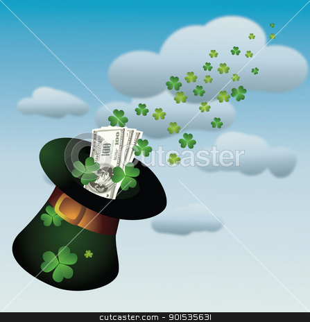 St. Patrick's day stock vector clipart, Hat with money for St. Patrick's Day by Rimantas Abromas