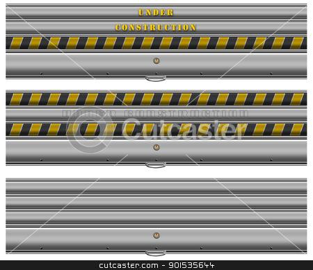 Under Construction Banner stock photo, Three web banner with metallic roller shutter and written under construction  by catalby