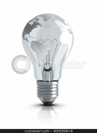 Light Bulb with World Map stock photo, Light Bulb with World Map. by ayzek