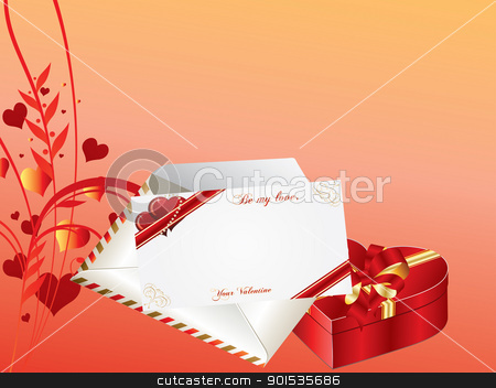 Valentines day stock vector clipart, Valentines Day background with envelope, card and gift box by Rimantas Abromas