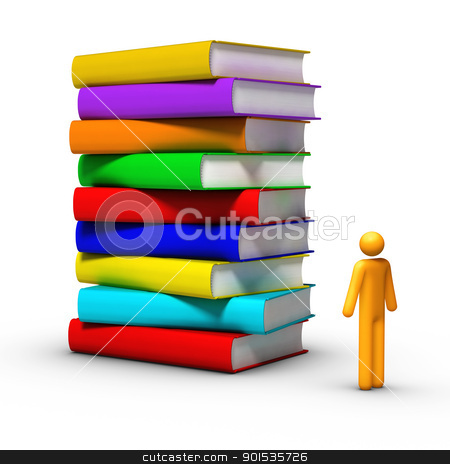 Stack Of Books stock photo, 3D rendered stick figure front of books. by ayzek