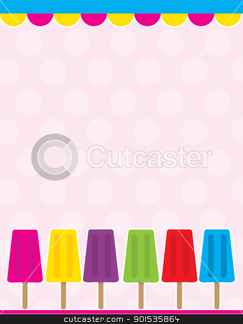 Popsicle Background stock vector clipart, An illustrated background with plenty of color; a scalloped border at the top, with a row of different color popsicles along the bottom. by Maria Bell