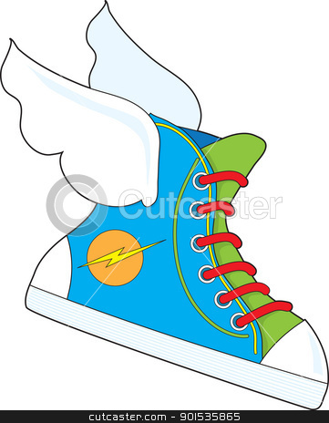 Flying Sneaker stock vector clipart, A multi colored sneaker with a lightning bolt logo, has wings attached giving it the power of flight. by Maria Bell