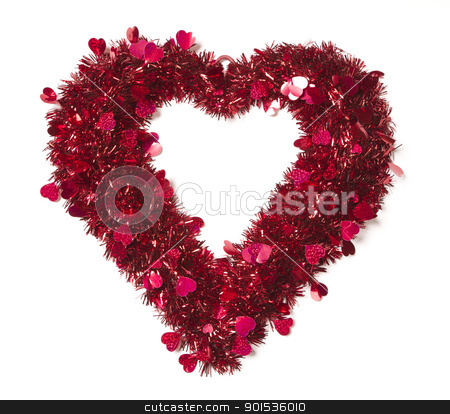 Heart Shaped Shiny Tinsel with Small Hearts stock photo, Heart Shaped Shiny Tinsel with Small Hearts on a White Background. by Andy Dean