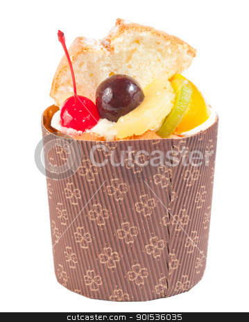 Delicious fruit cake stock photo, Delicious fruit cake in paper cup decoration by Lawren