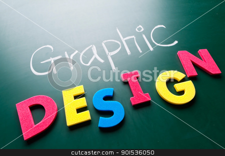 Graphic design concept stock photo, Graphic design concept, colorful words on blackboard. by Lawren