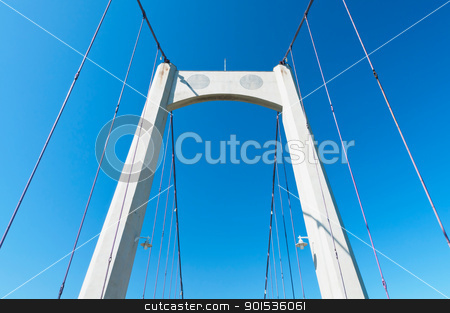 Steel ropes of suspending bridge stock photo, Steel ropes of suspending bridge with pure blue sky background by Lawren