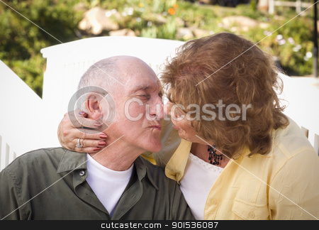 Senior Couple Kissing in the Park stock photo, Happy Senior Couple Kissing in the Park. by Andy Dean
