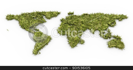 Green World stock photo, A green world. 3D rendered Illustration. Isolated on white. by Michael Osterrieder