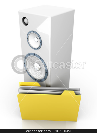 Audio Device stock photo, A Audio speaker with a Folder. 3D rendered illustration. by Michael Osterrieder