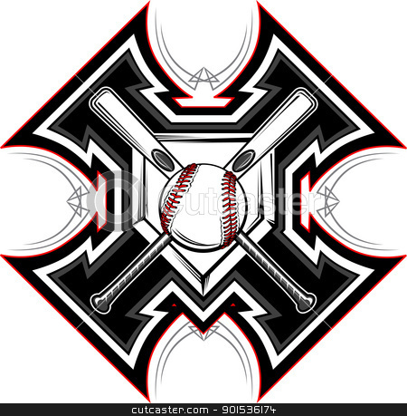 Baseball Softball Bats Graphic Vector Template stock vector clipart, Baseball Bats, Baseball, and Home Plate with Tribal Borders Vector Graphic by chromaco