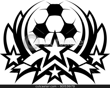 Soccer Ball Vector Graphic Template with Stars stock vector clipart, Graphic Template of Soccer Ball with Stars  Vector Image by chromaco