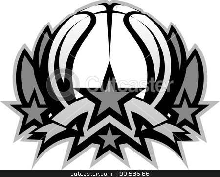 Basketball Ball Vector Graphic Template with Stars stock vector clipart, Graphic Template of Basketball Ball with Stars  Vector Image by chromaco