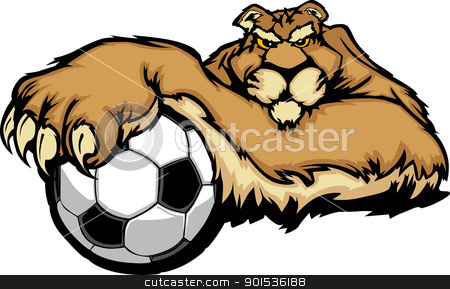 Cougar Mascot with Soccer Ball Vector Illustration stock vector clipart, Graphic Mascot Vector Image of a Cougar with Paws on a Soccer Ball by chromaco