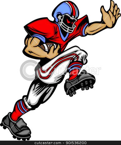 Football Player Runningback Vector Cartoon stock vector clipart, Cartoon Vector Silhouette of a Cartoon Football Player Rushing by chromaco