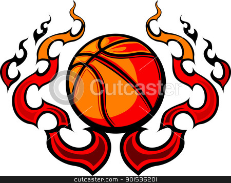 Basketball Template with Flames Vector Image stock vector clipart, Graphic Basketball vector image template with flames by chromaco