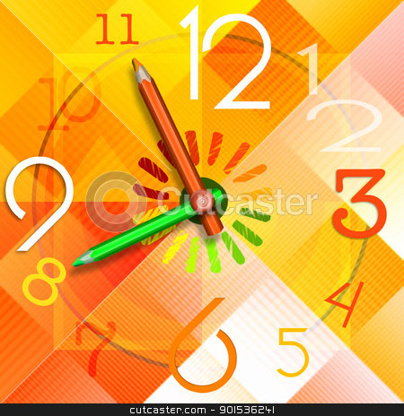 School Time stock photo, Colorful watch with hands in the shape of colored pencils - concept back to school!  by catalby