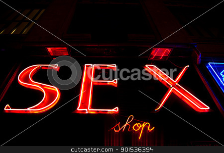 Sexy shop entrance stock photo, Paris - Detail of sexy shop sign, no copyrighted logo by Perseomedusa