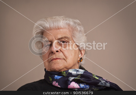 Portait of an elderly lady. stock photo, A portait of an elderly lady dressed in black,  with copy space.   by Pablo Caridad