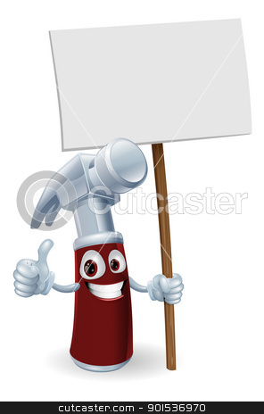Cartoon hammer with board sign stock vector clipart, Illustration of a cartoon hammer man holding up a sign by Christos Georghiou