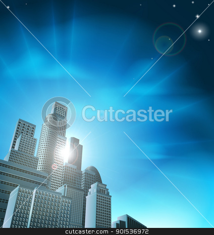 Blue corporate cityscape stock vector clipart, Blue corporate cityscape with skyscrapers and office blocks by Christos Georghiou