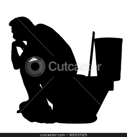 Thinking Man on Toilet Silhouette stock vector clipart, Silhouette of the Thinking man sitting on a toilet  by Snap2Art