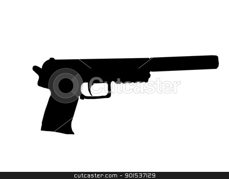 Silencer Pistol stock vector clipart, Silhouette of Pistol with Silencer Fitted on Barrel by Snap2Art