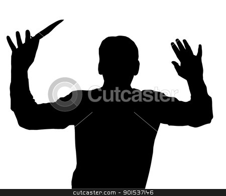 Surrendering with Knife stock vector clipart, Man surrendering while holding knife in one hand by Snap2Art