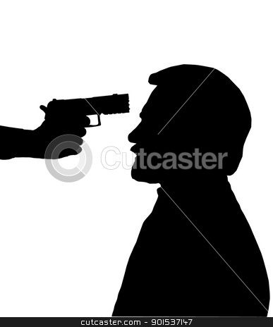 Silhouette of Man with gun against head  stock vector clipart, Silhouette of man with gun pointed at his head by Snap2Art