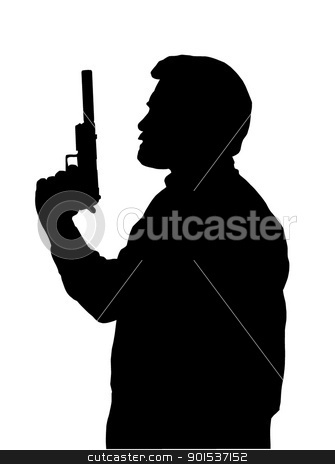 Hitman Silhouette stock vector clipart, Silhouette of Hitman with Pistol with Silencer by Snap2Art