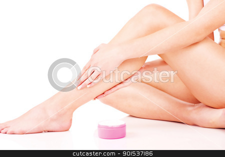Legs cosmetic treatment stock photo, Legs cosmetic treatment, isolate on white background by iMarin
