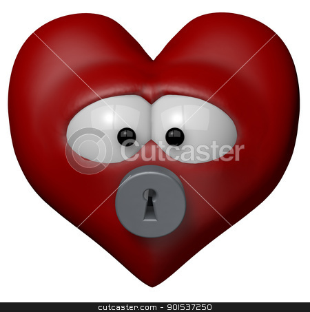 locked heart stock photo, red heart with keyhole - 3d cartoon illustration by J?