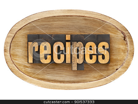recipes word in wooden bowl stock photo, recipes - word in vintage letterpress wood type inside rustic wooden dough bowl, isolated on white by Marek Uliasz