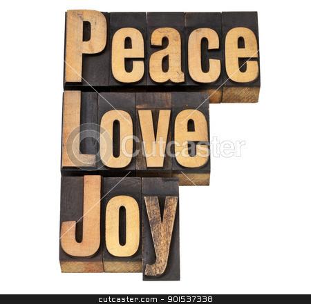 peace, love and joy in letterpress stock photo, peace, love and joy - isolated words in vintage letterpress wood type by Marek Uliasz