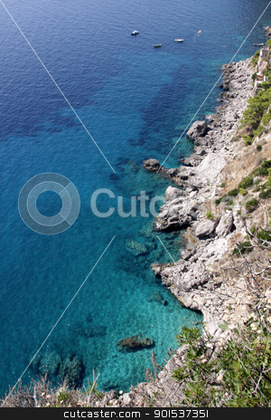 Sea at Capri stock photo, The coastline of the island of Capri, which is off Sorrentine peninsula in the Bay of Naples, Italy.  by Chris Hill