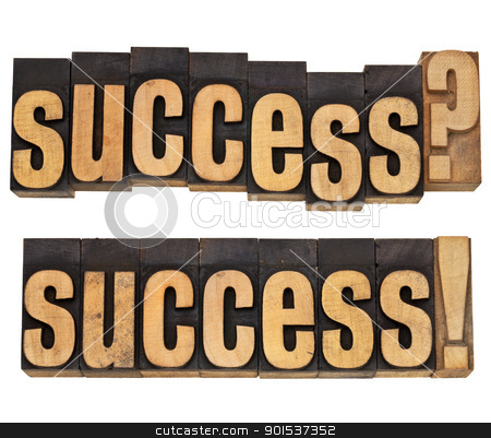 success question and confirmation stock photo, success question and confirmation with exclamation - isolated word in vintage wood type by Marek Uliasz