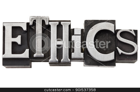 ethics word in metal type stock photo, ethics - isolated word in vintage grunge metal type by Marek Uliasz